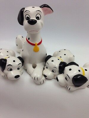 4 Disney 101 Dalmations Pongo Pup Yellow Ceramic Figurine Lot