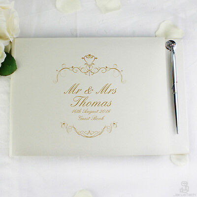 PERSONALISED Wedding Guest Book + Pen. Gold Swirl. Guestbook WEDDING Couple Gift