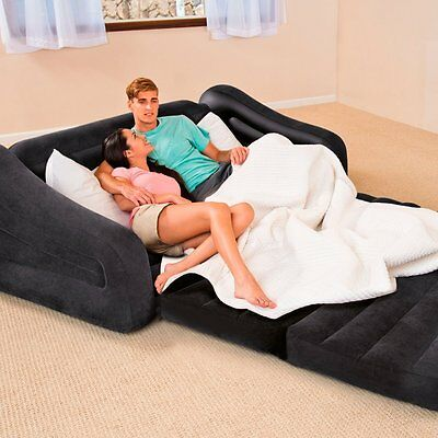 Intex 2 in 1 Inflatable Pull Out Sofa Couch Foldable Camping Double Airbed Chair