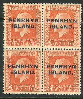 Cook Islands-Penrhyn 1917 vermilion 1/- block of 4 mint SG27a