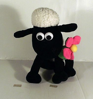 """10"""" Shaun The Sheep Holding A  Flower Soft Toy Wallace & Gromit"""