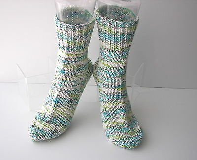 OCEAN Hand Knit UNIQUE Adult SOFT Wool Cotton Extra Thick Socks / Unique Gift