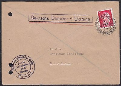 Besetzung Ukraine MI Nr. 20 EF Dienstpost Brief, Rowno Bank - Berlin 1943, WW II