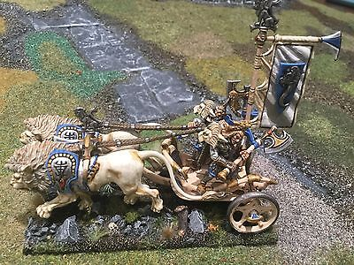 28Mm Painted Warhammer Age Of Sigmar High Elf White Lions Of Chrace Lion Chariot