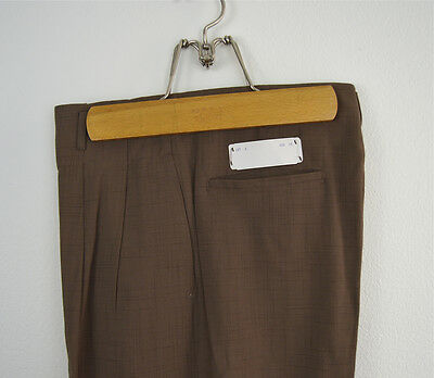 Vintage 1950s Deadstock NOS Brown Fleck Rayon Drop Loop Trousers Size 27x29