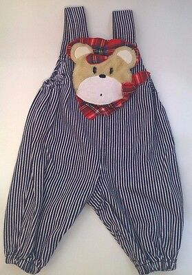 Vintage Baby Clothes Pinstripe Overalls Size 0-6 Months Furry Bear Applique