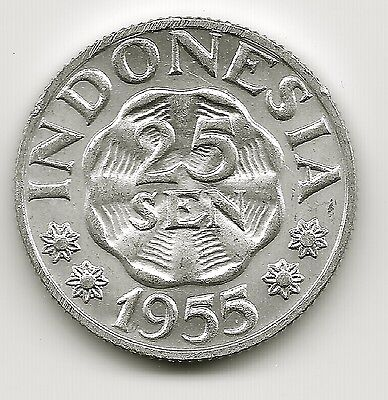 World Coins - Indonesia 25 Sen 1955 Coin KM# 11 UNC
