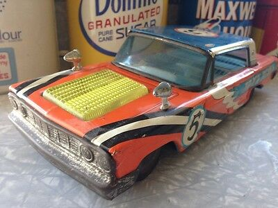 Vintage 1963 Ford Galaxie Large Track Demon  Race Car Tin Friction 1960s