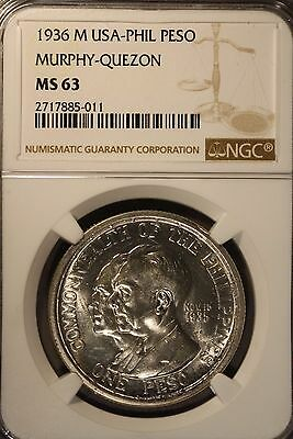 1936 M USA-Philippines Peso Murphy-Quezon Silver NGC MS 63 **FREE US SHIPPING **