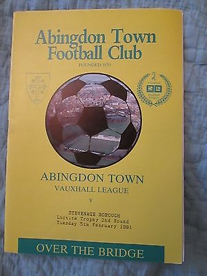 Abingdon Town v Stevenage Boro - Loctitle Trophy 2nd round - 1990/91 - FREE POST