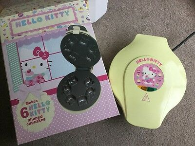 Unused Yellow Hello Kitty Cupcake Maker Makes 6 Shaped Cup Cakes