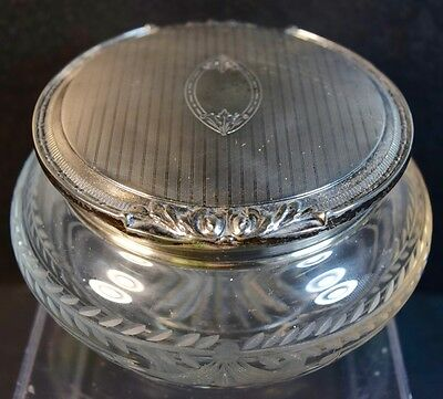 Fine Vintage Sterling Top and Cut Crystal (Glass) Powder Jar