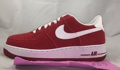 Nike Air Force 1 One Low GS Gym Red White Uptown 596728-610 5.5Y-7Y Youth Shoes