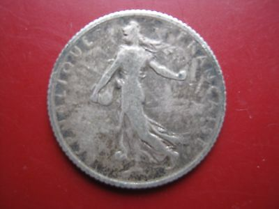 France French 1913 Silver 1 One Franc Frank coin