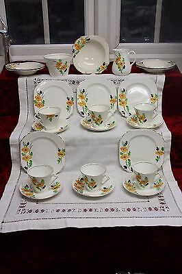 Lovely Hand Painted Art Deco Adams Tea Set Yellow Flowers 24 Pieces