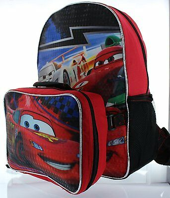 """Disney Pixar Cars 15"""" Backpack with Lunch Bag #383818"""