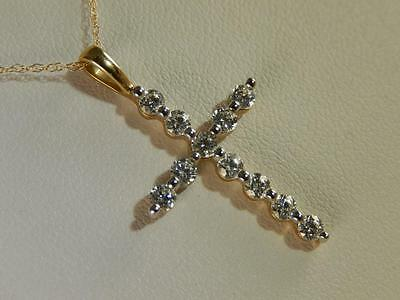 "10k Pave CZ Jeweled CROSS Petite 1"" PENDANT NECKLACE 18"" 14k Gold CHAIN Estate"
