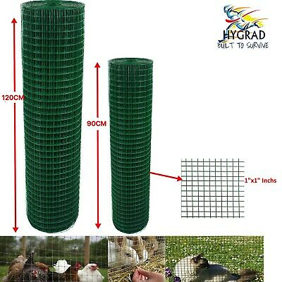 PVC Coated Green Chicken Rabbit Wire 30/45m 2 widths Mesh Aviary Fencing Garden