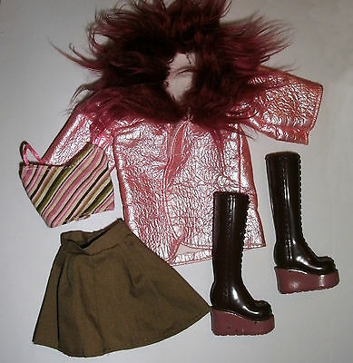 Barbie, Sindy doll clothes: Pink vinyl coat, striped top, skirt & boots