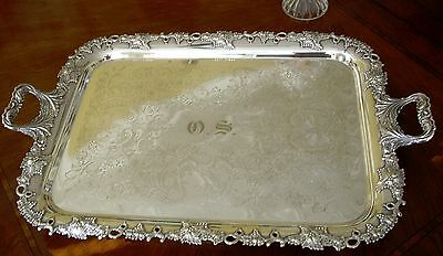 Antique Gorham C 1900 - 1910 Large  Triple Plate Serving Tray With Grape Design