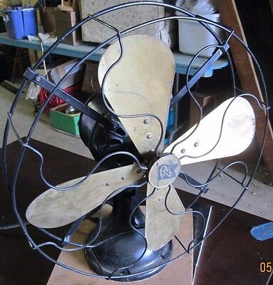 Antique Robins & Myers Electric Fan W/ Brass Blades  All 3 Speeds Work