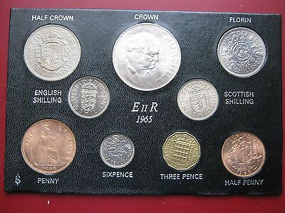 UK British 1965 9 Coin collection Set from Half-Penny to Churchill Crown cased
