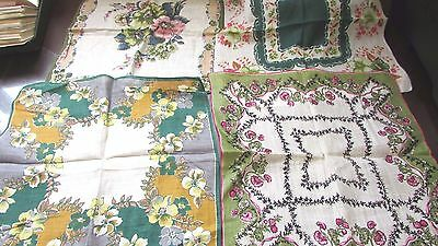 "Vintage Lot of 4 Hankies Handkerchiefs Green Floral 2-12"" and 2-13"""