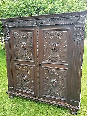 Antique Italian Walnut Carved Gothic Style Wardrobe Linen Press