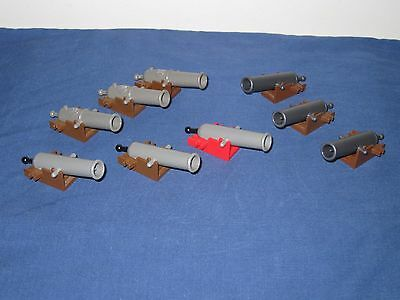 Lego Cannon Lot of 9 Cannons w/ Base Old & New Pull Back