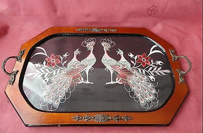 Vintage Wooden Glass Topped Tray With Embroidered PEACOCK Design 43x29cm.