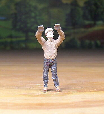 Detailed Construction Worker Reach Metal Pewter Figure O /s Scale Train Layout