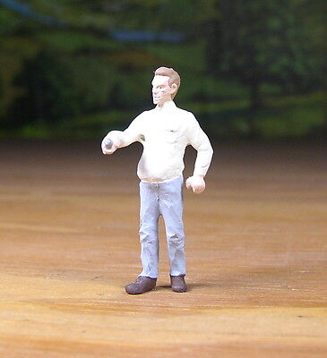Detailed Man With A Key / Tool Metal Pewter Figure O / S Scale Train Layout