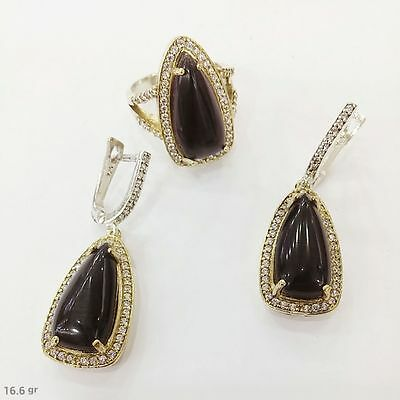 Sterling 925 Silver Handmade Jewelry Black Agate Earrings & Ring Set