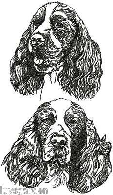 English Springer Spaniel  Graphic SET OF 2 HAND TOWELS EMBROIDERED Beautiful
