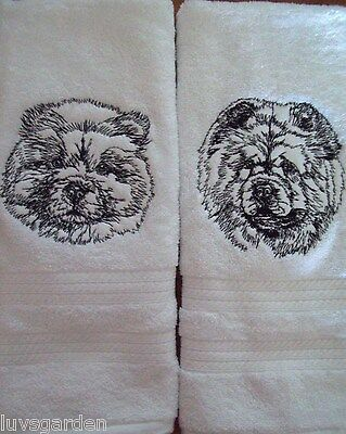 Chow Chow Graphic SET OF 2 HAND TOWELS EMBROIDERED Beautiful