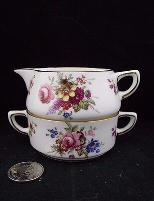 White Floral Hammersley & Co Stacking Tea Pot Cream And Sugar No Teapot