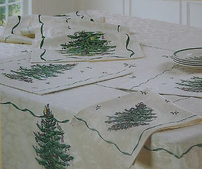 "Spode Christmas Tree Linens: 70"" Round Tablecloth~4Pk Fabric Napkins~Runner New"