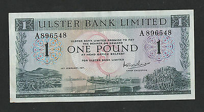 FEB 1971 (RARE)  ULSTER BANK LIMITED £1 BANKNOTE aUNC+ cat price for unc IS £175