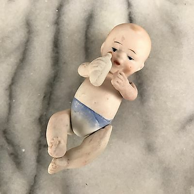Antique Bisque Porcelain Jointed Baby Doll with Bottle Nippon Japan