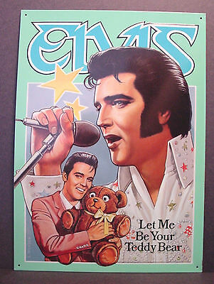 "ELVIS PRESLEY ""Let Me Be Your Teddy Bear"" 1957 Hit Song Pressed Metal Tin SIGN"