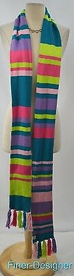 Little Miss Matched long striped Double side knit scarf wrap shrug one size NEW