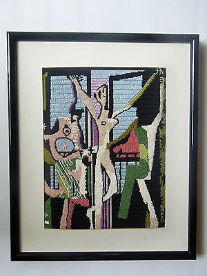 Completed Needlepoint Picasso Three Dancers Abstract Modern Framed Colorful