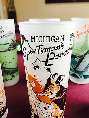 """Michigan Sportsman's Paradise,  Frosted, 6 1/4"""", Tall Glass,  'Racoon' 'Raccoon'"""