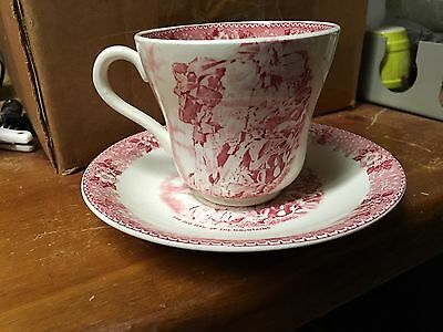 """Vintage Red New Hampshire Cup & Saucer Old Man Of The Mountain """"Gorgeous"""""""