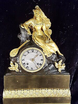 19Th Century French Gilt Bronze Figural Mantle Clock
