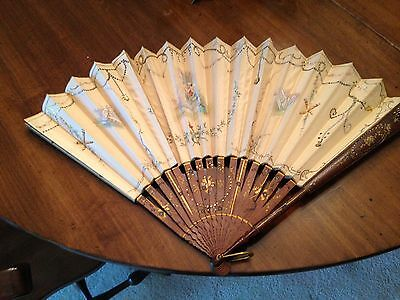 Handpainted, antique silk Chinese fan