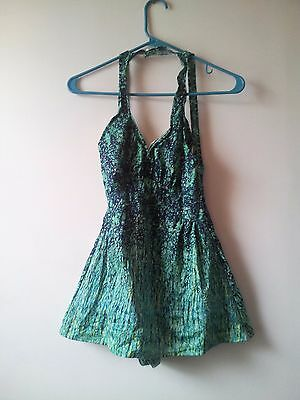 VINTAGE JANTZEN  One piece Green Blue Mod Hippie Print Swimsuit.  USA - Size 18