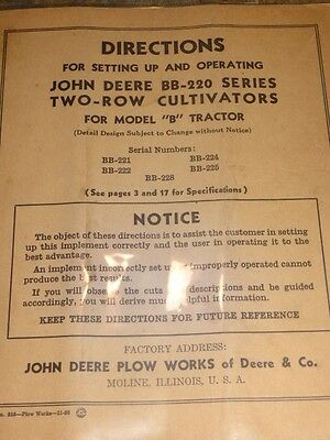 John Deere BB-220 Series Two-Row cultivators Operating Directions