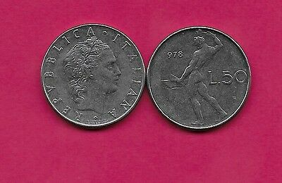 Italy Rep 50 Lire 1978R Xf Vulcan Standing At Anvil Facing Left Divides Date & V