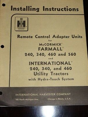International Harvester Remote Control Adapter Units Instructions